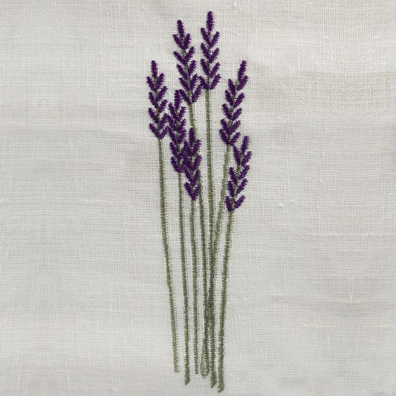 chemin de table 45x160cm lin blanc brin lavande lilas au fil du lin. Black Bedroom Furniture Sets. Home Design Ideas