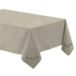 Nappe lin chiné broderie olive 150x250