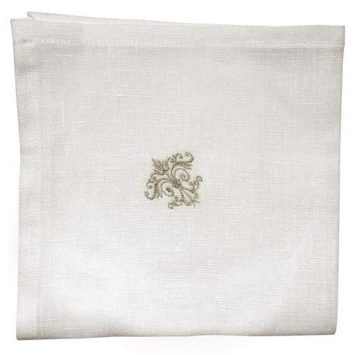 Serviette de table lin blanc broderie monogramme taupe
