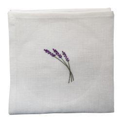 Serviette de table lin blanc broderie brin lavande lilas