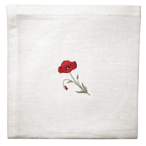 Serviette de table lin blanc broderie coquelicot rouge