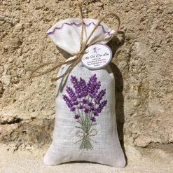 sachet de lavande lin blanc broderie bouquet lavande