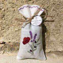 sachet de lavande lin blanc broderie trio coquelicot olive lavande