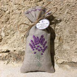 sachet de lavande lin naturel broderie bouquet lavande