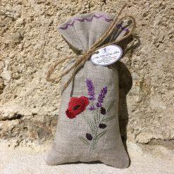 sachet de lavande lin naturel broderie trio coquelicot olive lavande