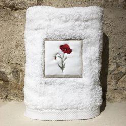 drap de douche 70x140 coton blanc broderie coquelicot rouge