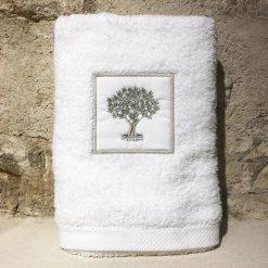 drap de douche 70x140 coton blanc broderie olivier vert