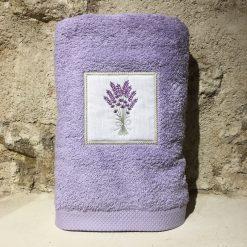 drap de douche 70x140 coton lilas broderie bouquet lavande lilas