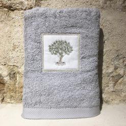 drap de douche 70x140 coton gris clair broderie olivier vert