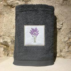 drap de douche 70x140 coton gris foncé broderie bouquet lavande lilas
