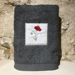 drap de douche 70x140 coton gris foncé broderie coquelicot rouge