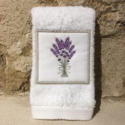 serviette invité 30x50 coton blanc broderie bouquet lavande lilas