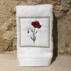 serviette invité 30x50 coton blanc broderie coquelicot rouge