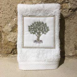 serviette invité 30x50 coton blanc broderie olivier vert
