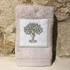 serviette invité 30x50 coton ficelle broderie olivier vert