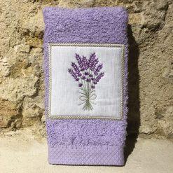 serviette invité 30x50 coton lilas broderie lavande lilas