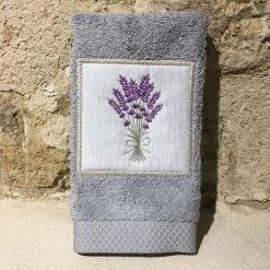 serviette invité 30x50 coton gris clair broderie bouquet lavande lilas