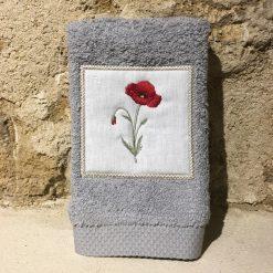 serviette invité 30x50 coton gris clair broderie coquelicot rouge
