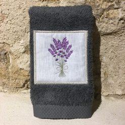 serviette invité 30x50 coton gris foncé broderie bouquet lavande lilas