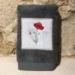 serviette invité 30x50 coton gris foncé broderie coquelicot rouge