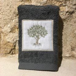 serviette invité 30x50 coton gris foncé broderie olivier vert