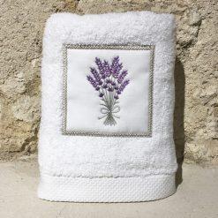 serviette 50x100 coton blanc broderie bouquet lavande lilas
