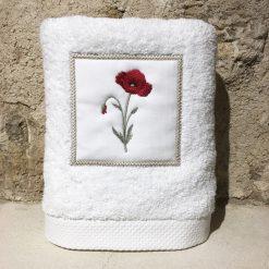 serviette 50x100 coton blanc broderie coquelicot rouge