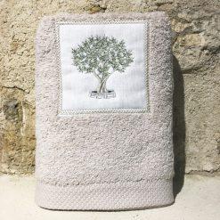 serviette 50x100 coton ficelle broderie olivier vert