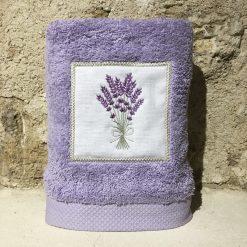 serviette 50x100 coton lilas broderie bouquet lavande lilas