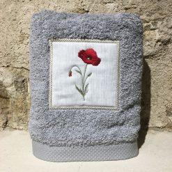 serviette 50x100 coton gris clair broderie coquelicot rouge