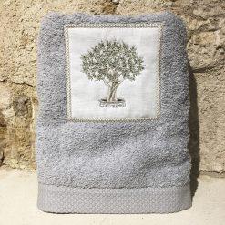 serviette 50x100 coton gris clair broderie olivier vert