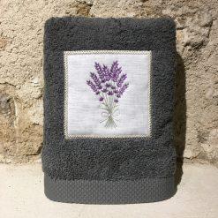 serviette 50x100 coton gris foncé broderie bouquet lavande lilas