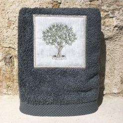 serviette 50x100 coton gris foncé broderie olivier vert