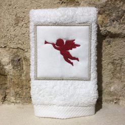 serviette invité 30x50 coton blanc broderie ange rouge