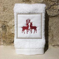 serviette invité 30x50 coton blanc broderie rennes rouge