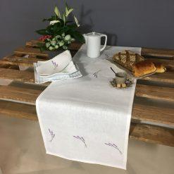 chemin de table lin blanc broderie brin lavande lilas