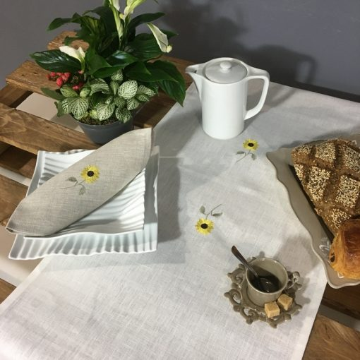 chemin de table lin blanc broderie tournesol jaune