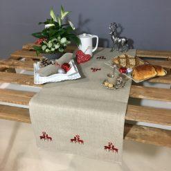 chemin de table lin naturel broderie rennes rouge