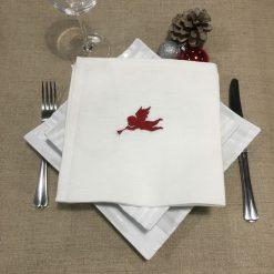 serviette de table lin blanc broderie ange rouge