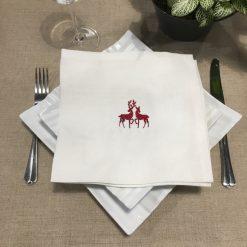 serviette de table lin blanc broderie rennes rouge