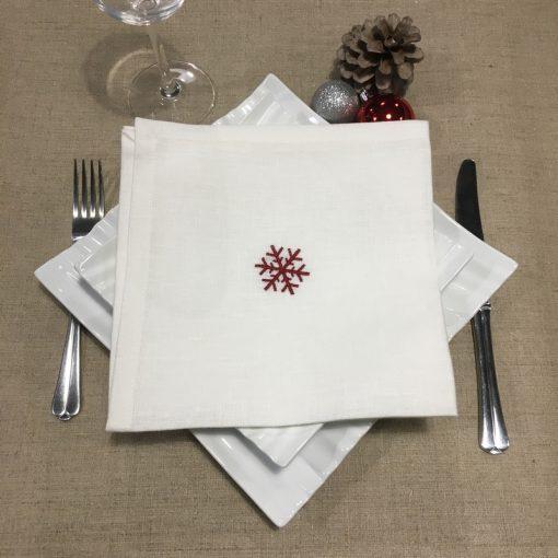 serviette de table lin blanc broderie flocon rouge