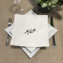 serviette de table lin blanc broderie olive vert