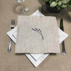 serviette de table lin chiné broderie brin lavande lilas