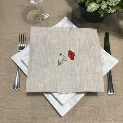 serviette de table lin chiné broderie coquelicot rouge