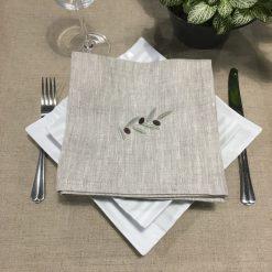 serviette de table lin chiné broderie olive vert