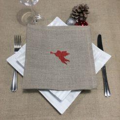 serviette de table lin naturel broderie ange rouge