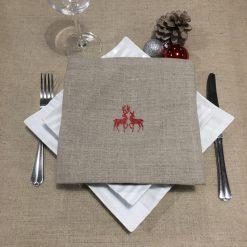 serviette de table lin naturel broderie rennes rouge