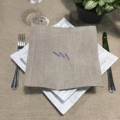 serviette de table lin naturel broderie brin lavande lilas