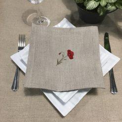 serviette de table lin naturel broderie coquelicot rouge