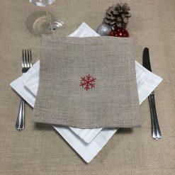 serviette de table lin naturel broderie flocon rouge
